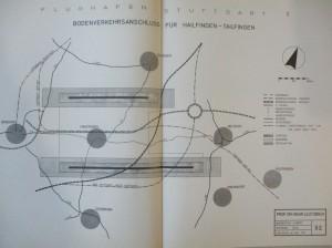 Planungskarte Flughafen Stuttgart II, Gutachten Prof. Leutzbach, Kartenteil, Karte 52,1971, Kreisarchiv Tübingen